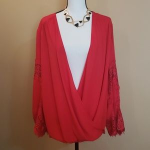 Red Surplice Lace Inset Top 2X